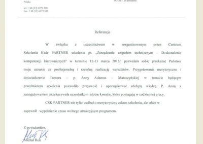 Anna Adamus Matuszyńska_CSK_Referencje_Opinie
