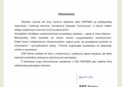 Opinie_ Referencje_ Anna Adamus Matuszyńska_CSK PARTNER_Ejot