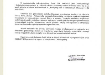 Opinie_ Referencje_CSK partner_Anna Adamus Matuszyńska_Amcor