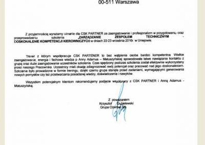 Opinie_ Referencje_CSK partner_Anna Adamus Matuszyńska_Grupa Ożarów