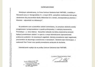 Referencje_Anna Adamus Matuszyńska_CSK PARTNER_Bank Millennium