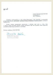 Referencje_opinie_CSK partner_Anna Adamus Matuszyńska_Oasis