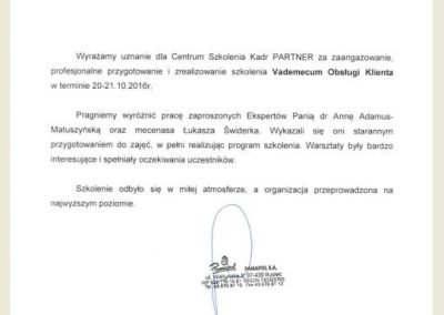 Rekomendacje_ Anna Adamus Matuszyńska_CSK PARtNER_PAMAPOL