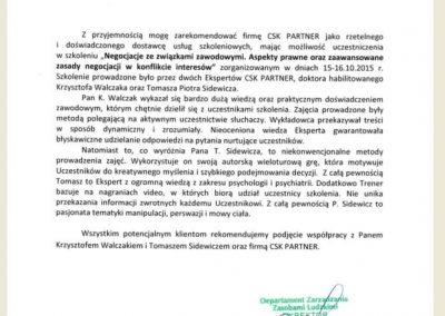 Tomasz Sidewicz_Krzysztof Walczak_Szkolenie Związki Zawodowe_Referencje