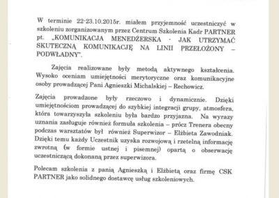 Agnieszka Michalska Rechowicz_opinie_CSK PARTNER_Referencje _Górażdze