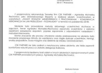 Agnieszka Michalska Rechowicz_opinie_CSK PARTNER_Referencje _Takoni