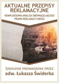 Aktualne przepisy reklamacyjne_Łukasz Świderek_opis szkolenia