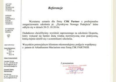 CSK PARTNER_Opinie_Referencje_Arkadiusz Maciaś_Hutnik