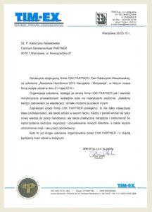 Referencje dla CSK-Partner Roma Kawszyn Adam Szaran_ TIMEX