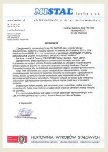 Referencje dla CSK-Partner Roma Kawszyn Adam Szaran_Mistal