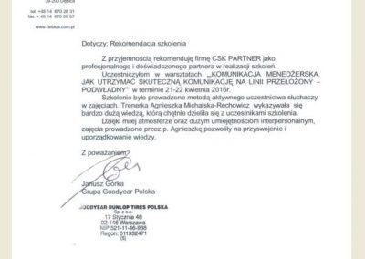 Referencje_Opinie_CSK PARTNER_Agnieszka Michalska Rechowicz_GoodYear