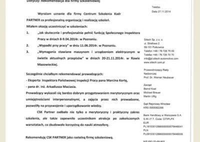opinie_referencje_CSK PARTNER_Arkadiusz Maciaś_Sitech