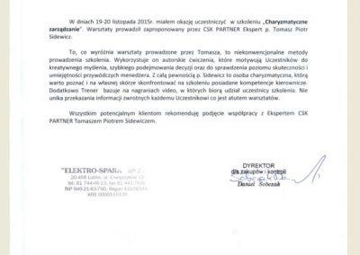 Opinie_Referncje_CSKPARTNER_ Tomasz_sidewicz_szkolenie zarządzanie_Elektro SPark