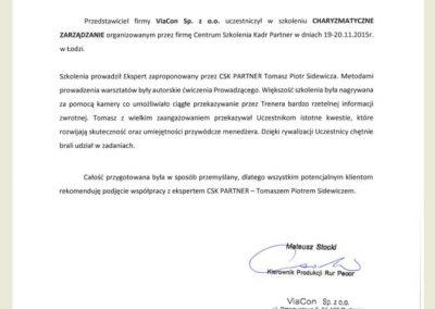 Referencje_Opinie_CSK PARTNER_Toamsz Sidewicz_Viacon